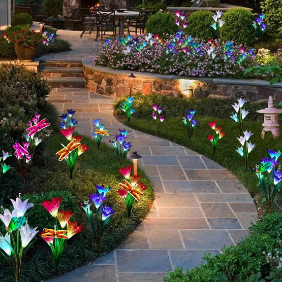 2Pcs/Set Waterproof LED Solar Stake Lily Flower Light Outdoor Garden Lawn Decorations