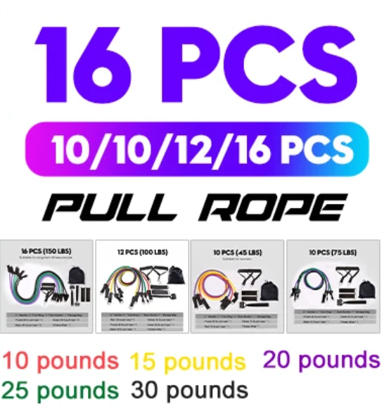 Resistance Bands Yoga Rubber Bands Tubes Home Fitness Pull Rope Gym Exercise Tool 10-16Pcs/Set