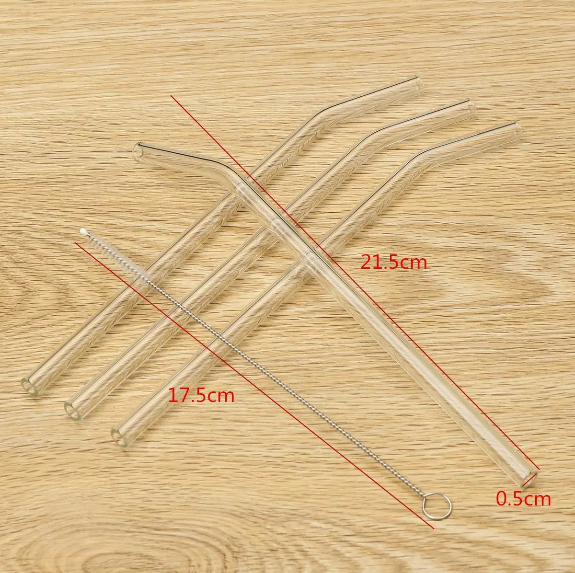EnviroLove™ Reusable Drinking Straws Clear Bent Glass Portable Water Juice Straws with Cleaning Brush 4Pcs 5mm