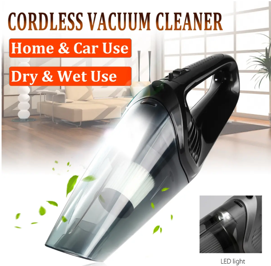Home 4U™ Best Handheld Compact Rechargeable Cordless Wet Dry Portable Home Vacuum Cleaner 120W LED