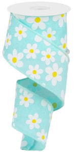 "2.5""X10yd Flower Daisy Print On Royal - wired"