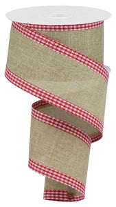 "2.5""X10yd Royal Burlap Gingham Edge - wired"