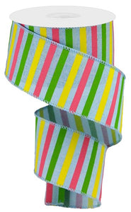 "2.5""X10yd Horizontal Stripe On Royal - Wired Ribbon"