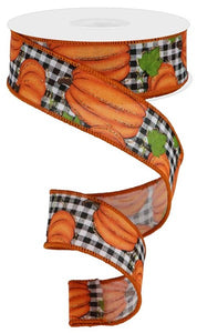 "1.5""X10yd Pumpkin Patch/Check - wired"
