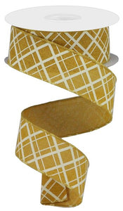 "1.5""X10yd Thick/Thin Diagonal Check - mustard/ivory - wired ribbon"