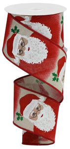 "2.5""X10yd Santa On Royal - wired"