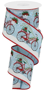 "2.5""X10yd Christmas Bicycle On Royal - Wired"