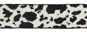 "2.5""X10yd Cow Print On Cotton - Wired"