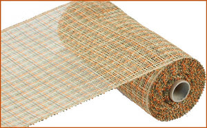 "10""X10yd Poly Burlap Plaid Mesh - Orange/Beige/Moss/Brown"