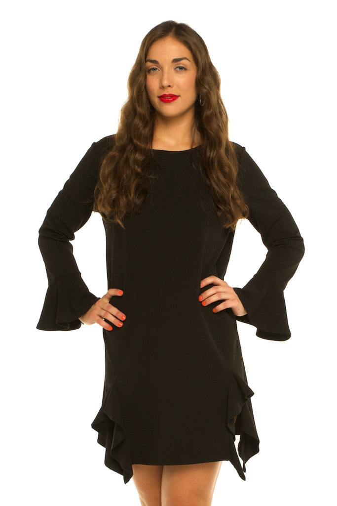 Techno Crepe Dress with Flounce Detail & Modified Bell Sleeve (Black) -  VLU STYLE Wholesale Vendor in AmericasMart Atlanta Apparel and Clothing