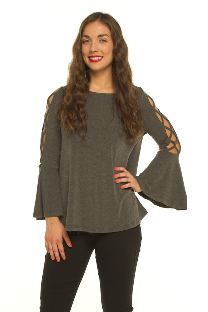 Bell Sleeve Knit Swing Top with Criss Cross Strappy Sleeve Details (Charcoal) - VLU STYLE Wholesale Vendor in AmericasMart Atlanta Apparel and Clothing