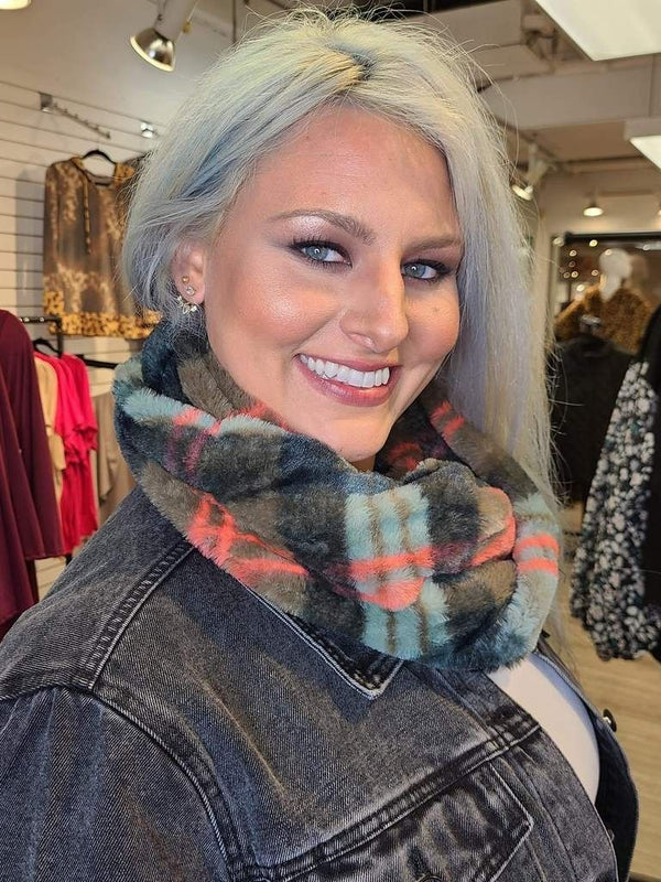Faux Fur Infinity Scarf (Blue and Gray Plaid)