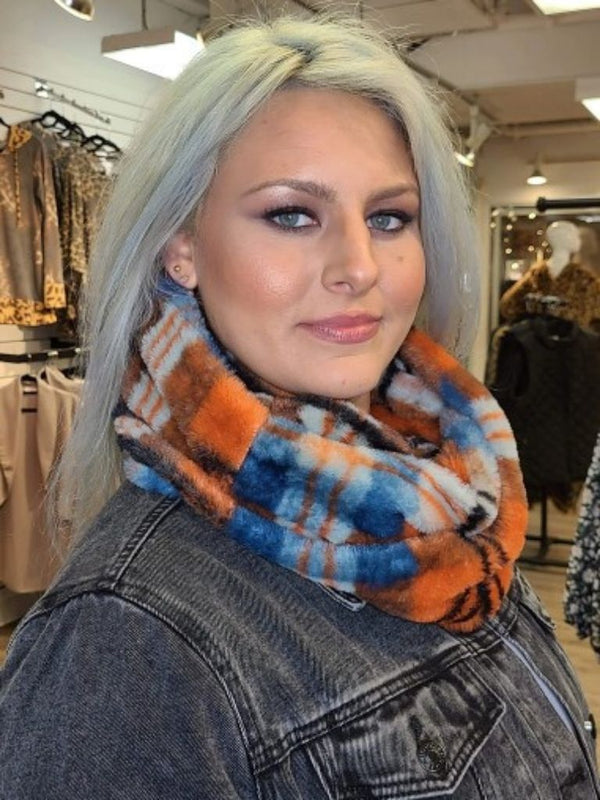 Faux Fur Infinity Scarf (Blue and Orange Plaid)