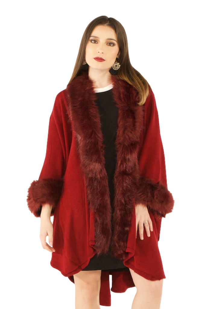 Faux Fur Poncho (Burgundy) - VLU STYLE Wholesale Vendor in AmericasMart Atlanta Apparel and Clothing