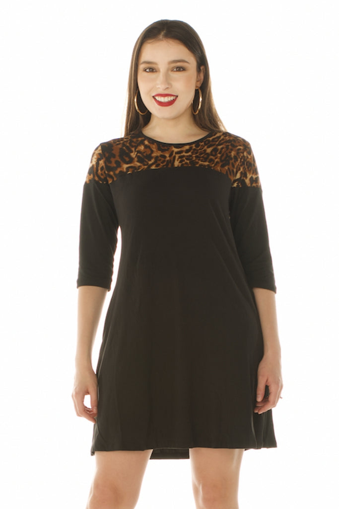 Little Black Dress with Attitude, Black Swing Dress w/Pockets and Leopard Print Shoulder Detail in Regular Size