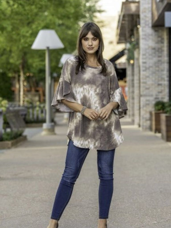 Muted Tie Dye Slit Bell Sleeve Top