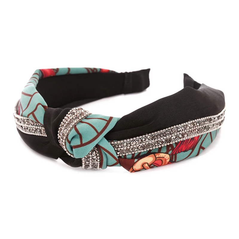 Printed Headband with Crystal Accents - VLU STYLE Wholesale Vendor in AmericasMart Atlanta Apparel, Hair Accessories, Jewelry and Gift Items