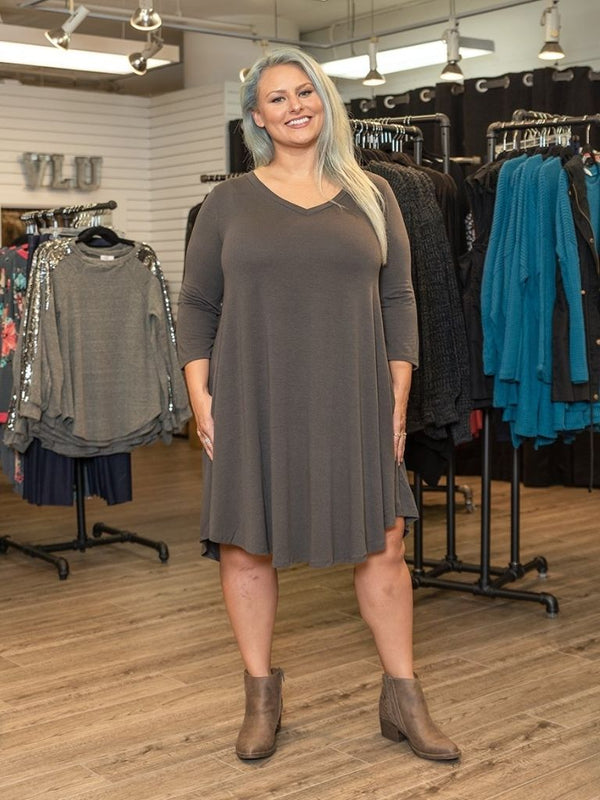 Swing Dress 3/4 Sleeve (Cement Grey)