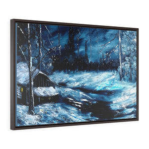 Dark Blue Painting Horizontal Framed Premium Gallery Wrap Canvas