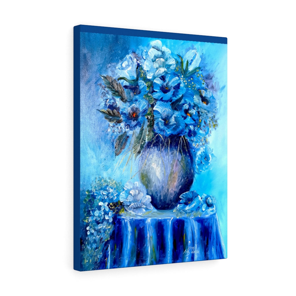 Blue Flower Jar Stretched Canvas Mason Jar