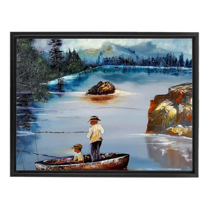 Father and Son Fishing on Boat on a Lake Canvas Wall Art Framed Print on Canvas -Ocean, lake, Fishing Gift For Men, Christmas Gifts for Dad