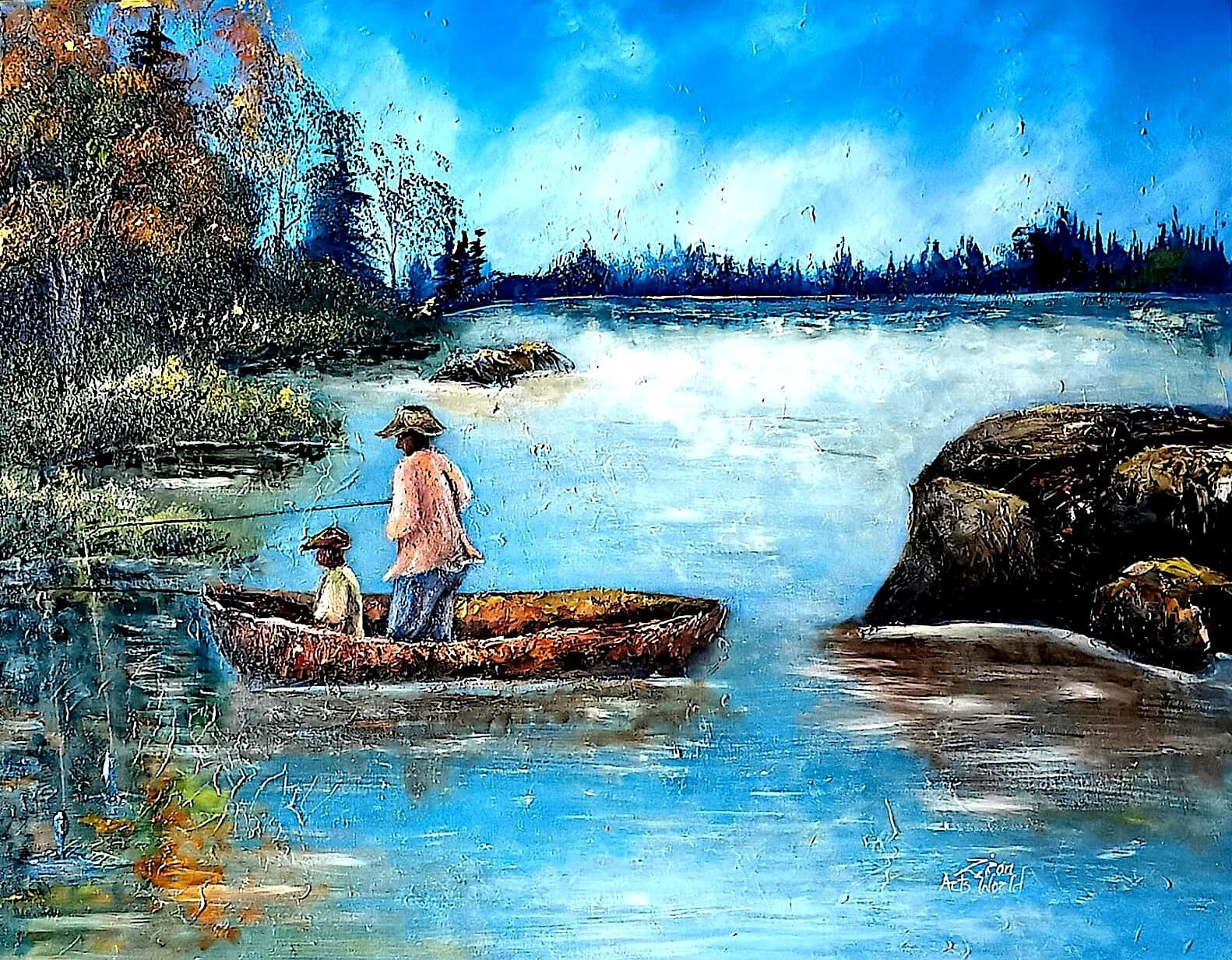 Father and Son Fishing in River Original Painting on Canvas