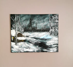 WINTER SCENE PAINTING | Winter Tree Painting With a Twist - ORIGINAL ART