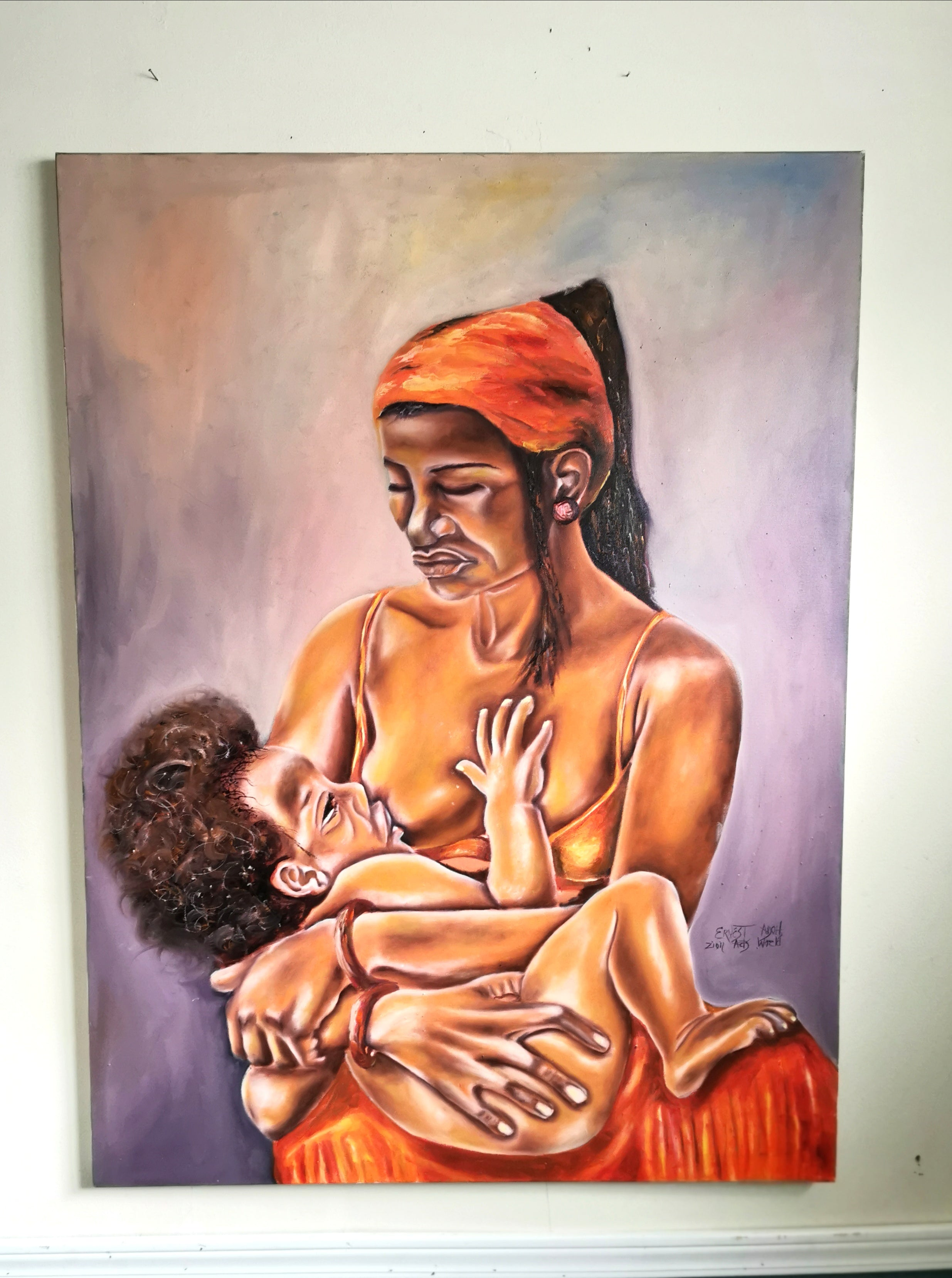 Mother and Child Painting - African Mother and Child Painting Original Canvas Art.