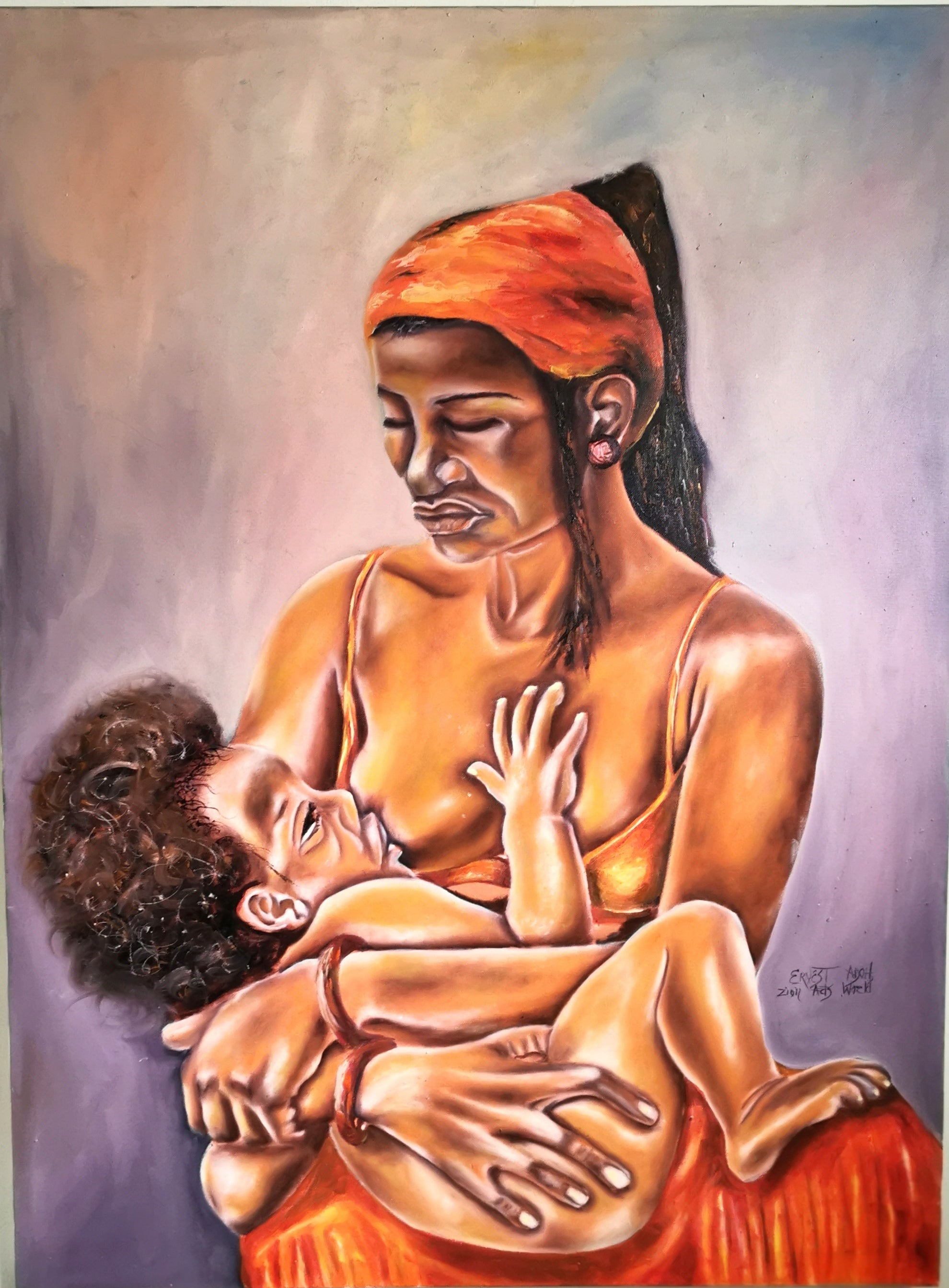 Mother and child painting - African paintings.