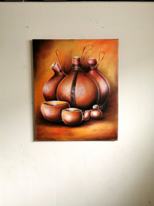 AFRICAN WALL ART: Decorative African Gourds Wall Art Calabash Painting On Canvas Home Decor