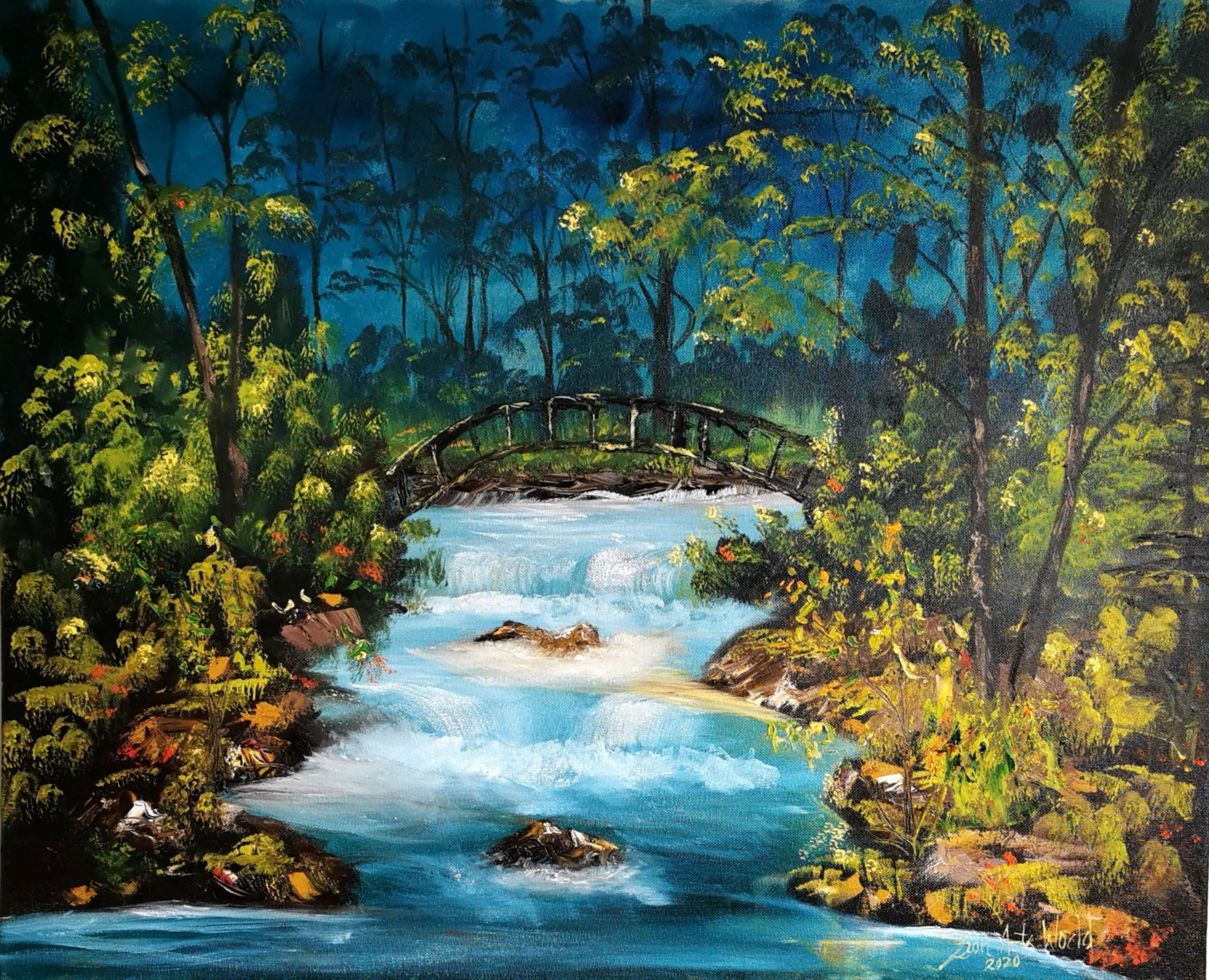 FOREST PAINTING: Forest Landscape Painting Landscape Art on Canvas