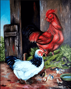 Chicken Paintings | Chicken Paintings on Canvas, Farmhouse Paintings of Chickens and Roosters