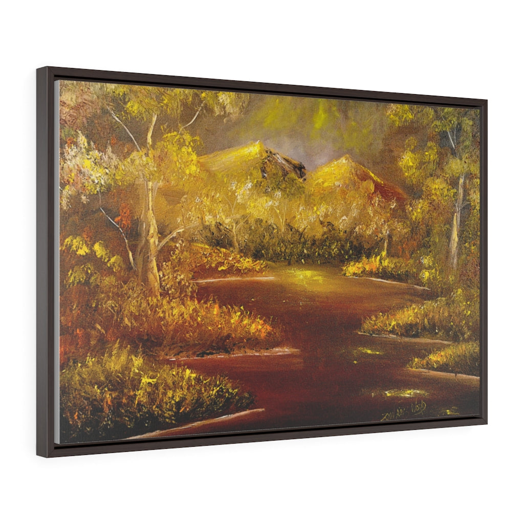 Gold Mountain Forest Horizontal Framed Premium Gallery Wrap Canvas