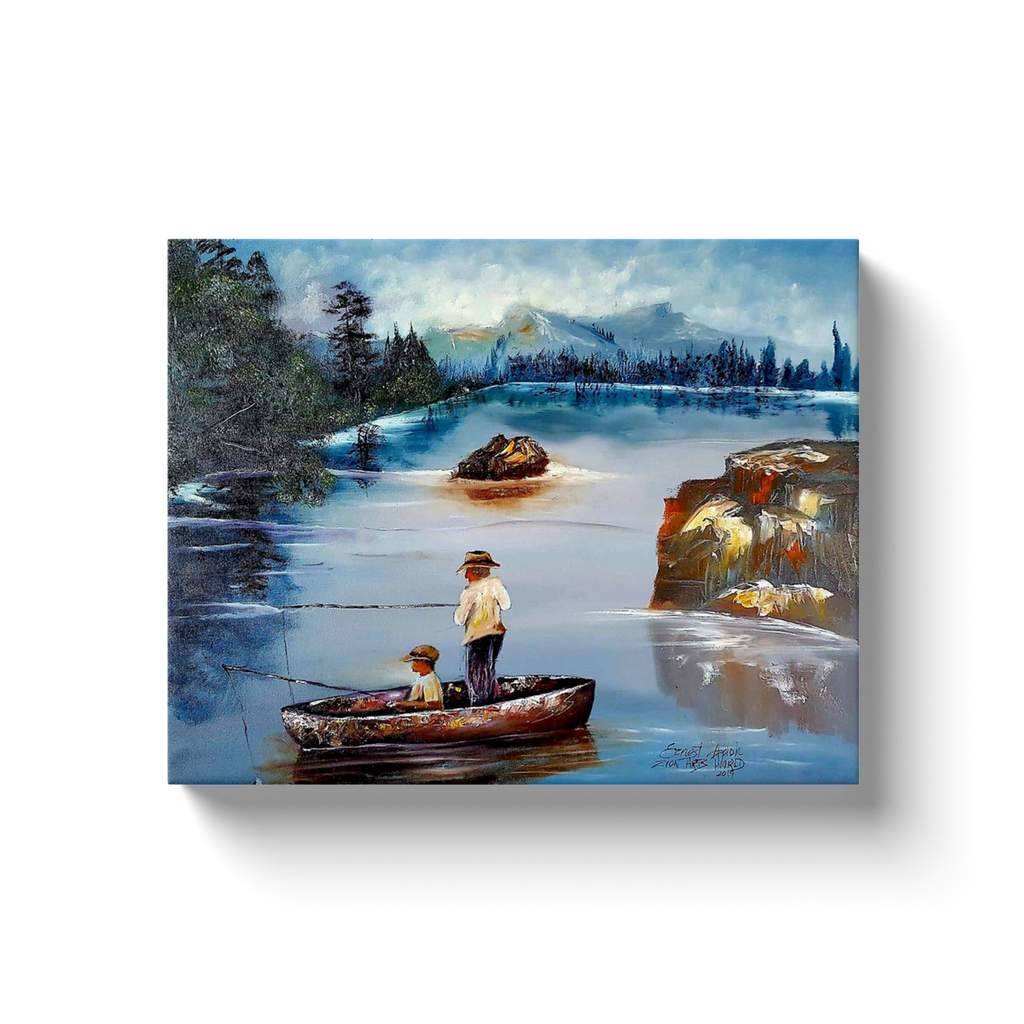 Father and Son Fishing on Boat on a Lake Canvas Wall Art Print on Canvas -ocean, lake, Fishing Gift For Men, Christmas Gifts for Dad