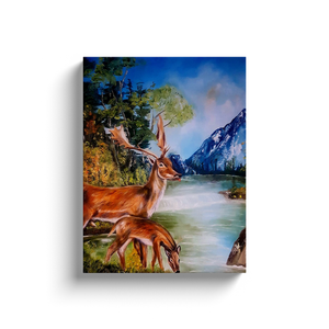 Canvas Painting of Deer Drinking Water in The Forest Scenic Cross Stitch Home Decor