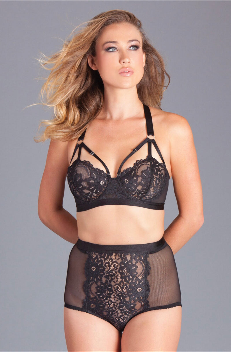 2PC bra and panty set. Features a lace cupped bralet with underwire,four pronged closure, criss-cross straps with silver adjustable details, and high waisted briefs with frontal lace and sheer fish net mesh back.