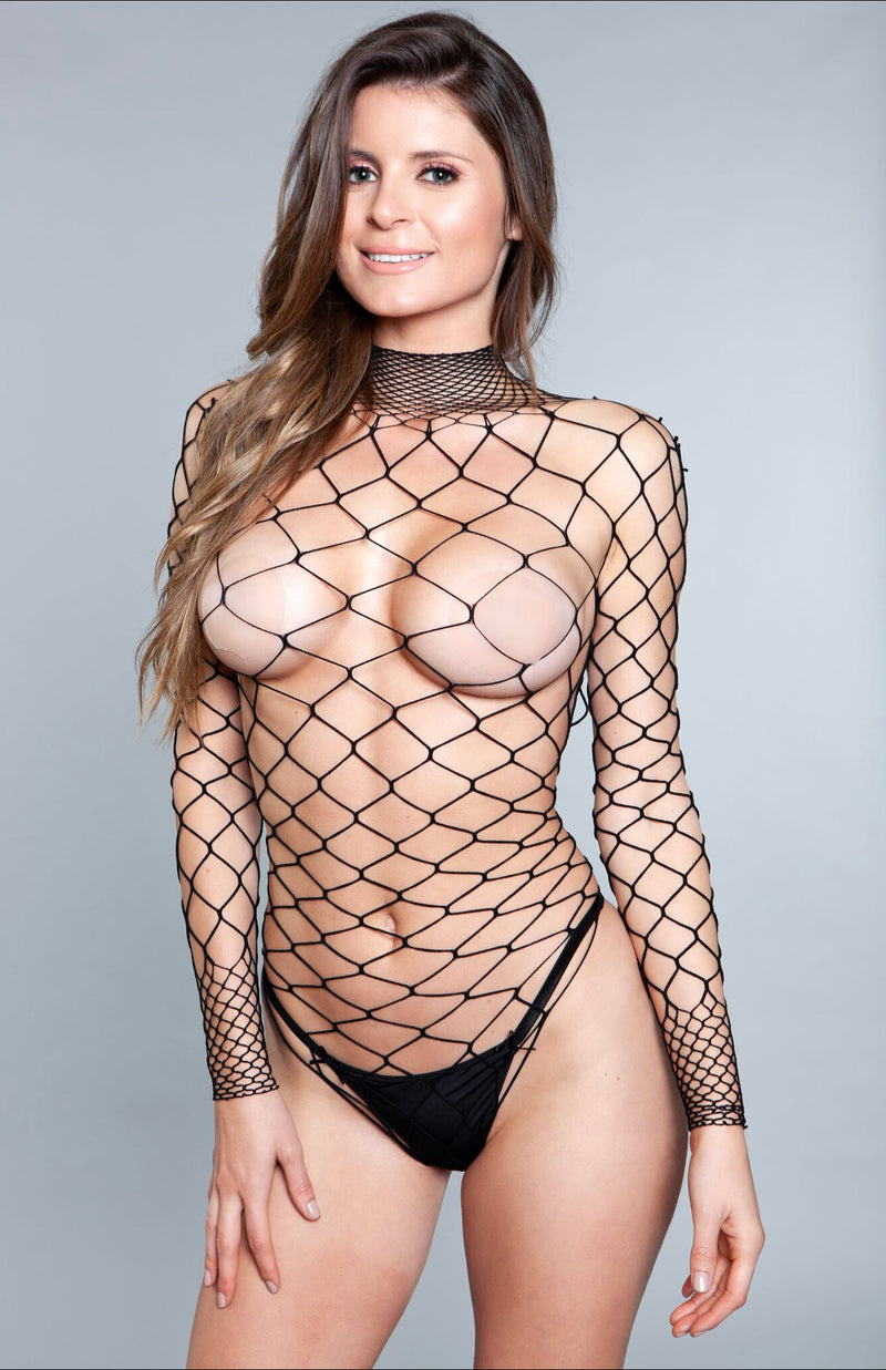 WANNA PARTY BODYSTOCKING WIDE FISHNET LONG SLEEVE THONG NOT INCLUDED 94% NYLON 6% SPANDEX