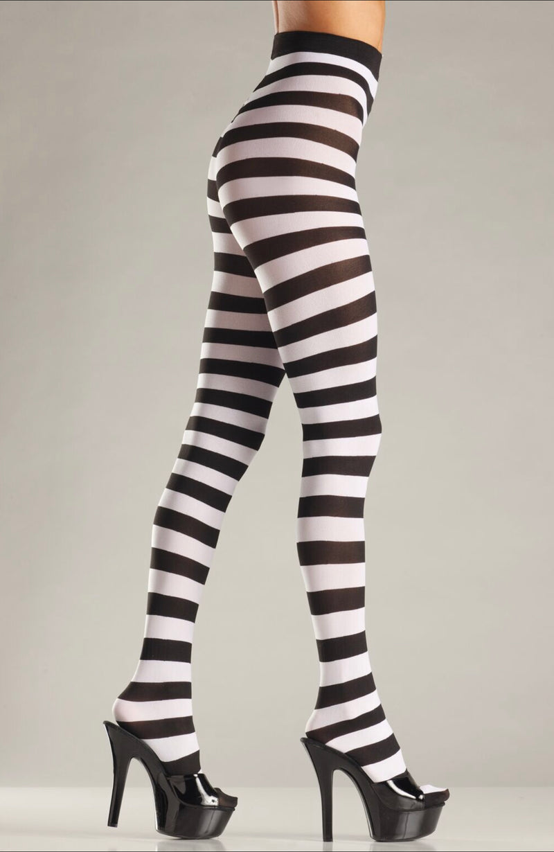Blk/White wide striped pantyhose