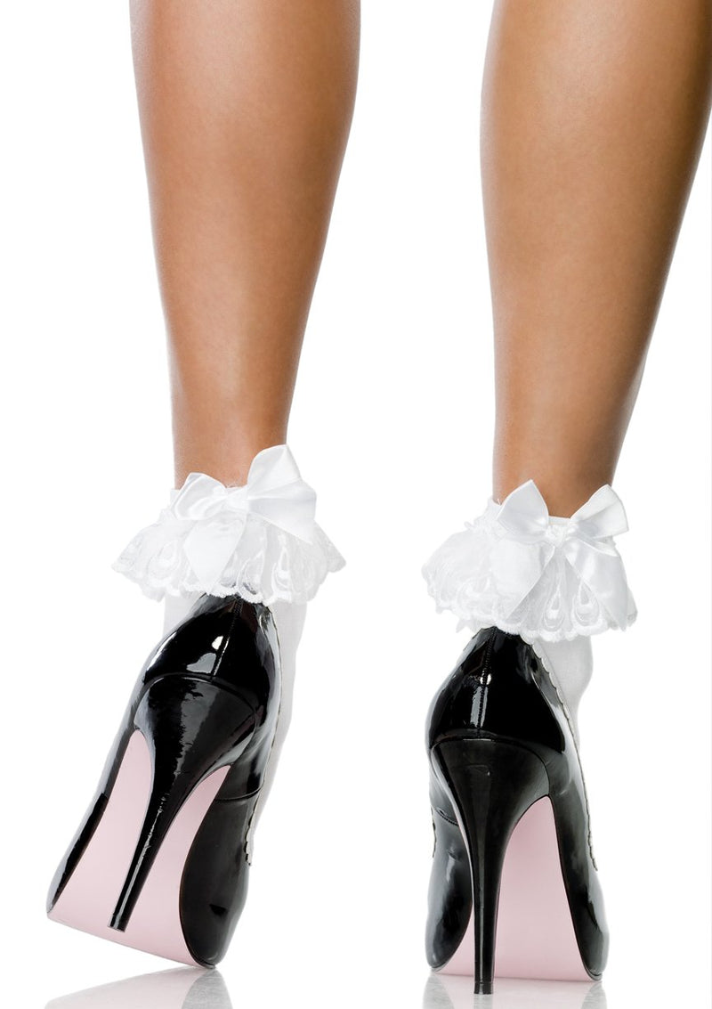 WHITE BOW & LACE RUFFLE ANKLET SOCKS