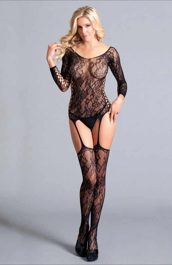 Lilian Lace body stocking Long Sleeved Suspender Body Stocking With Scooped Back