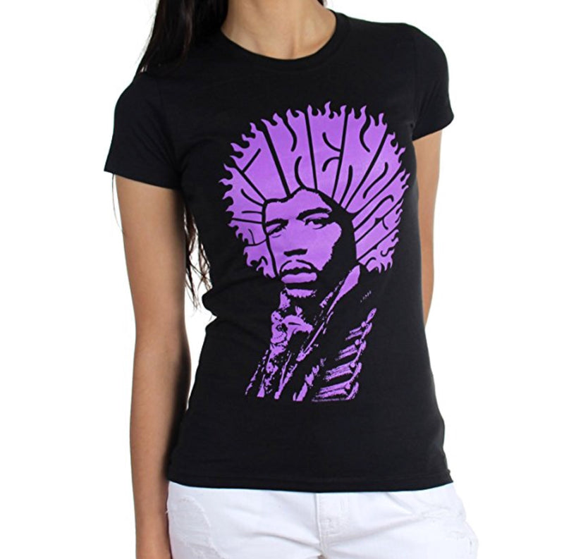 Jimi Hendrix Hair Type Junior's T-Shirt
