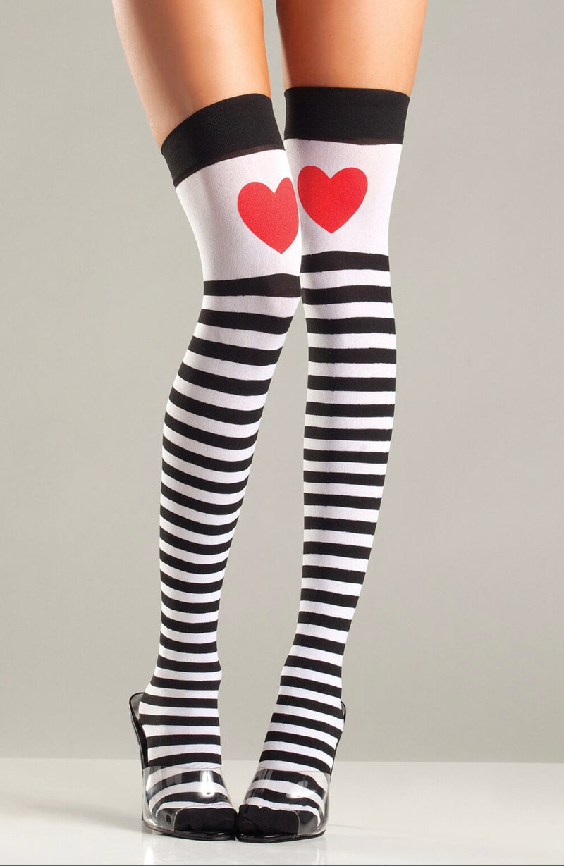 Queen Of Hearts Blk/White Striped Thigh Highs with Heart