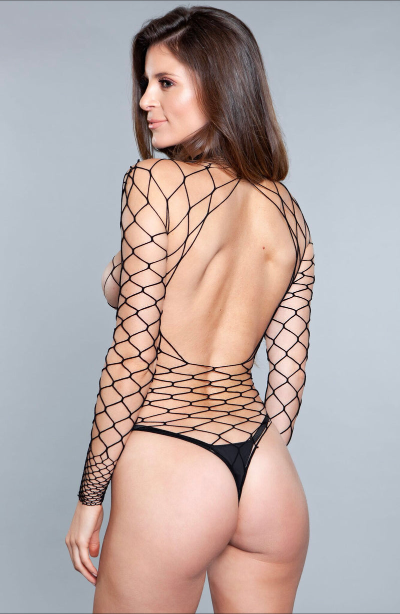 WANNA PARTY BODYSTOCKING BLACK WIDE FISHNET LONG SLEEVE THONG NOT INCLUDED 94% NYLON 6% SPANDEX