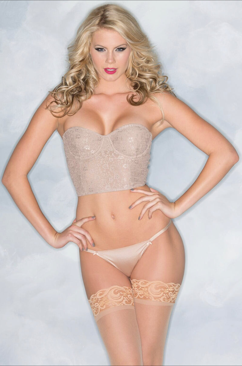 1-Piece Lace-cropped bustier with underwire cups and zipper back closure