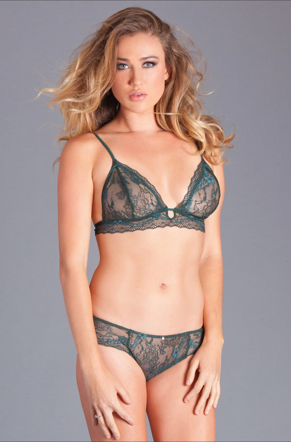 2PC lace bralet and panty. Has lace band at underbust with adjustable back straps, detail back hook, and eye closure. Features decorative front bra straps with center front key hole.