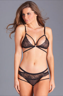 2PC lace cupped bralet. Features pronged closure straps with silver adjustable details and includes crotchless panty