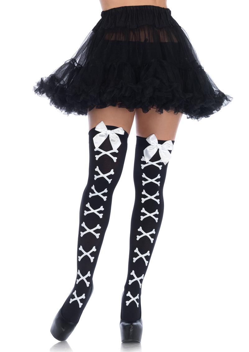 Crossbone Print Bow Top Thigh Highs