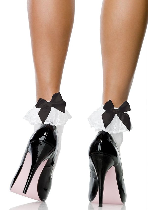 Bow & Lace Ruffle Anklet Socks
