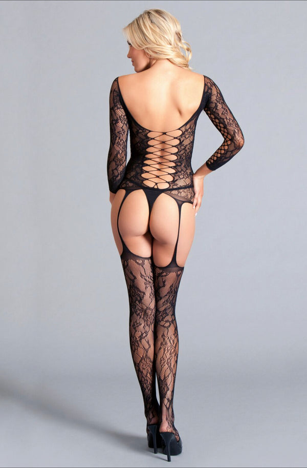Long Sleeved Suspender Body Stocking With Scooped Back