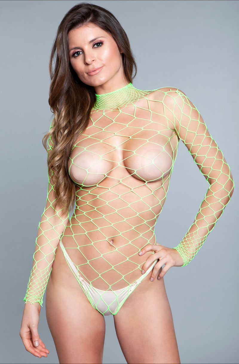 WANNA DANCE BODYSTOCKING WIDE FISHNET LONG SLEEVE THONG NOT INCLUDED 94% NYLON 6% SPANDEX